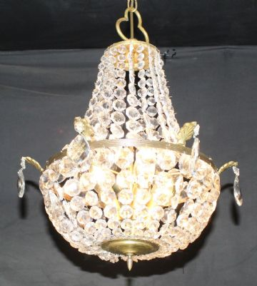VINTAGE EMPIRE CHANDELIER FRENCH GLASS TENT & BAG CEILING LIGHT - Ref: AJN2